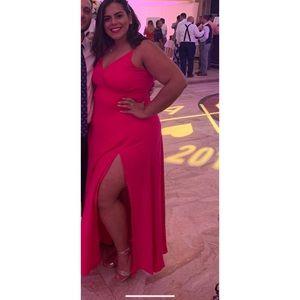 Hot Pink Surplice Maxi Dress